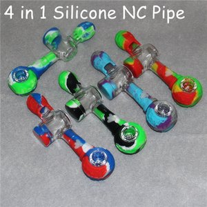4 in 1 14mm smoking silicone pipes silicon dab straw nectar collectors with titanium tips nector collector kit