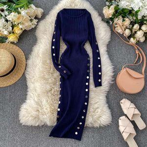 Vintage 2021 Slim Button Autumn Dresses Winter Sweater Bodycon Knitted Midi Pencil Dress Party Women Office Soft Vestidos