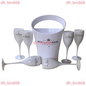 6 Cups + 1 Bucket Ice and Glass 3000ml Acrylic Goblets champagne Glasses wedding Wine Bar Party Bottle Cooler