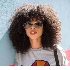 Mongolian Afro Kinky Curly Front Wigs With Bangs 4B 4C Short Human Hair 13x6 Lace Frontal Bob Cut Wig EverBeauty