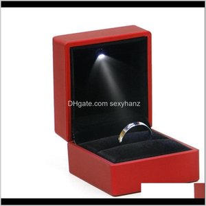 Boxes & Drop Delivery 2021 Led Lighted Box Earring Ring Wedding Gift Package Display Packaging Lights Jewelry Creatived Case Holder 164 R2 K0