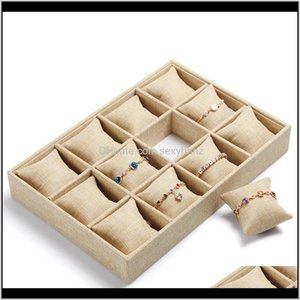 Packaging & Drop Delivery 2021 High-End Linen Box Bracelet Watch Display Stand Holder Boutique Jewelry Storage 12 Grid Small Pillow Tray 0Dgo