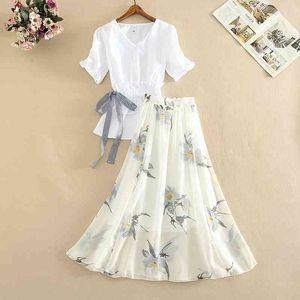 Summer New Office 2 Piece Set Women V Neck Puff Sleeve White Blouse Bow Tie Shirt Top + Flower Printed Long Skirt Set Suit 210409