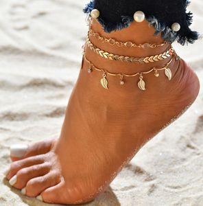 Grandes meninas jóias oco folhas arrow tassel anklets pé pé praia jóias a1671