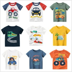 Kids Boys T-Shirts 100% Cotton Short Sleeve T Shirts Car Bus Cartoon Children Clothes 2-9 Years Summer Clothing
