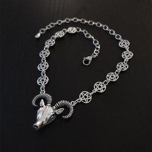 Collares colgantes Gótico Cabra cabeza gargantilla collar Charm Ram y Pentagrama Cadena Joyería Wicca Satánica Oculta Moderna Mujeres Brujas