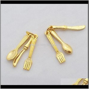 & Components Drop Delivery 2021 Wholesale-20 Sets Antique Sier Plated Zinc Alloy Combination Charms Knife Fork Spoon Diy Jewelry Findings Ps1