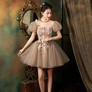 Freeship bubble sleeve fairy tutu short lolita alice wonderland dress stage performance cartoon carnival dress cosplay