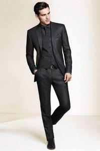 Black Groom Tuxedos Бизнесмен Костюм Slim Fit Formate Wedding Party 3 Piece Prom Custom Made Cours A093 Мужские Blazers