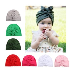 Caps & Hats Baby Cotton Blends Headband Soft Bowknot Turban Hair Bands KnitFabric Pleated Bow Hat For Gift