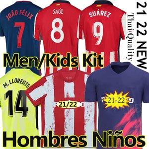 21/22 Atlético de futebol Jerseys Suárez Madrid 2021 22 João Félix Saul Koke M.Llorente Dembélé Homens Kits Kits Treinamento Futebol Jersey Calças