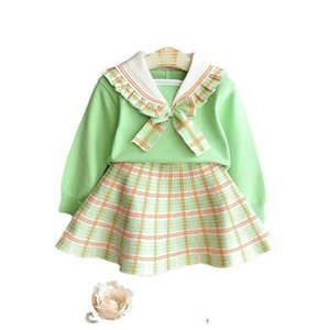 Girls Sweater Sets Kids Clothing Baby Clothes Outfits Autumn Winter Cotton Plaid Long Sleeve Knitting Patterns Sweaters Tops Short Skirts Children Suits 2Pcs B8369