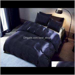 Sets Imitation Silk Bedding 3 Pcs Satin Duvet Cover Solid Color Set Simple Beautiful Bedclothes With Pillowcase R6Ijm Gjjmk