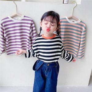T-shirts Children Shirts Girls Clothes Kids Clothing Spring Autumn Cotton Long Sleeve Striped B4511