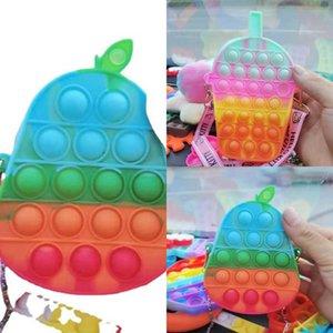 Sensory Silicone Fidget Push Pops Puzzle Bag poppet bubbles purses Toys chain bag cartoon drink pear fruits crossbody shoulder bag kids Anti anxiety toy G94CUUM
