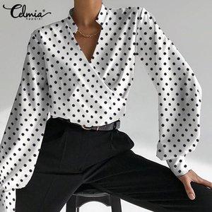 Women's Blouses & Shirts Celmia Elegant Polka Dot Women Puff Long Sleeve 2021 Autumn Sexy V-neck Wrap Casual Loose Tunic Tops Femme
