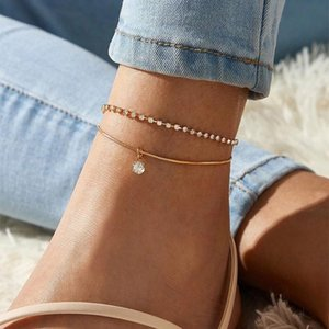 Anklets Modyle Round Beaded Bohemian Anklet For Women Accessories Gold Color Barefoot Sandals Foot Leg Bracelet Jewelry Gift