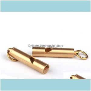 Outdoor Gadgets And Sports Outdoors10Mm Solid Brass Edc Emergency Safety & Survival Aid Whistle Keychain For Camping Hiking Tools Drop Deliv