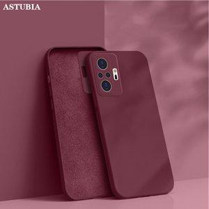 Original Liquid Square Silicone Phone Case For Note 10 7 8 9 9S Pro Max Poco F3 GT X3 NFC Soft Thin Cover Funda
