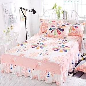Seven Color Flowers Bed Skirt Textile Bed Sheet Household Bedding Large Size Mattress Bed Bedspread ( No Pillowcase ) F0231 210420