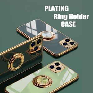 Casos de TPU suaves de placas de lujo para iPhone 12 Pro 11 XS MAX 8 Plus con soporte de anillo Stand Cover Samsung S20 S21 + Huawei P40