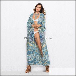 Er-Ups Swimming Equipment Sports & Outdoorser-Ups Summer Elegant Vintage Maxi Long Dress Women Plus Size Beach Cardigan Bathing Bikini Er Up