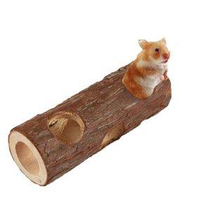 Натуральный деревянный хомяк мыши туннелью туннелью игрушка лес пустое дерево с малой животной игрушкой, 15 см / 20см длинные поставки