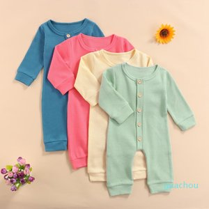 Jumpsuits Autumn Infant Born Baby Girls Boys Rompers Outfits Winter Solid Long Sleeve Single Breasted Clothes
