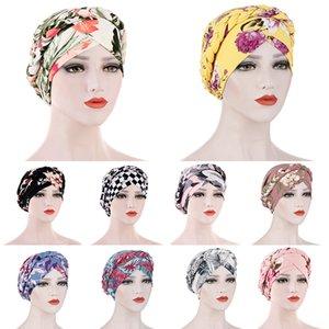 Хлопок цветочный принт мусульманский тюрбан шарф для женщин исламские внутренние шапки Hijab обертываются головы шарфы стрейч крест