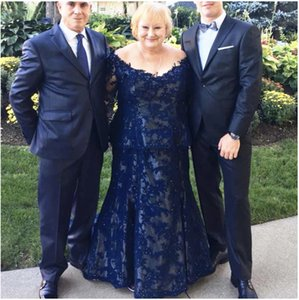 Plus Size Mother of the Bride Dress for Wedding Party Dark Navy Blue Lace Off Shoulder Mermaid Evening Gowns Mother of the Groom
