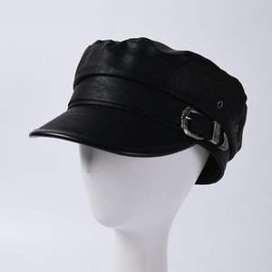 Retro Peaked Hat Fashion Belt Buckle Ornament Casual Leather Black Hats Cool Short Couple Brimmed Cap