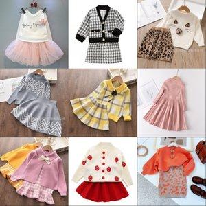 Bear Leader Girls Vêtements d'hiver Ensemble de pull à manches longues Jupe de chemise 2 PCS Vêtements costume Vêtements pour bébés pour enfants Vêtements de filles 762 Y2