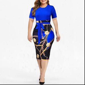 Vintage Womens Dress Print Plus Size Knee length Summer Short Sleeve Midi Elegant Dresses Sexy High Waist Robe