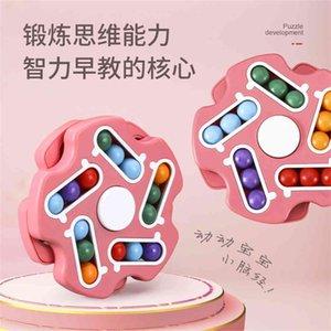 Fashion Kids Finger Decompression Toys Push Fidget Bubble Hamburger Shape With Rainbow Bean Rotatable Children's Education Toy G4Y3JMK