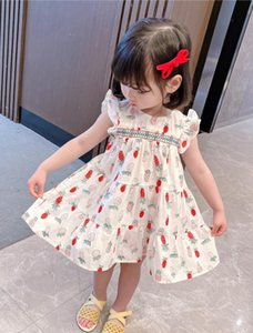 Baby Girls  Dress Summer 2021 Fly Sleeve Baby Clothes 100% cotton Princess Child Toddler Kids cherry Lace Dress For Girl Clothes Vestidos