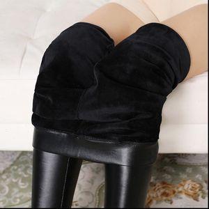 L 4XL Women Legging Plus Size Warm Leggings High Waist Stretch Slim Velvet Fashion PU Leather Pants