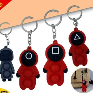 Korean TV squid game toys cartoon key ring keychains fidget popet push bubble poppers board game popping toy bag pendant hanging masked red dolls xmas gift H102P2DR