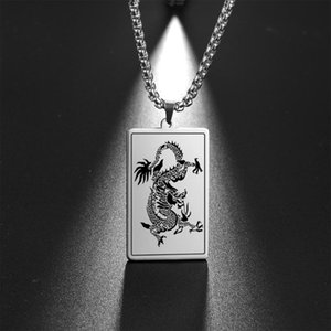 My Shape Chinese Dragon Pendant Necklace For Men Women Stainless Steel Necklaces Fashion Jewelry 2021 Gift Father Boyfriend