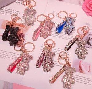 Key Ring PVC Keychain DIY Craft Cartoon Bear Handmade Rhinestone Crystal Chains Charm Pendant Keychains For Women Gifts