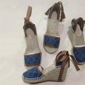 Kadınların Açık Toe Platformu Espadrille Ayakkabı Balıkçı Topuk Topuklu Tasarımcı Kama Sandalet Matelassé Hafif Buzağı Derisi Ayakkabı Sicim Örgü Bağlantı