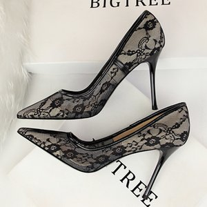 European and American sexy thin high-heeled women's shoes stiletto shallow mouth pointed toe mesh hollow lace single shoe