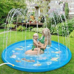 100cm Kids Inflatable Water spray pad Round Water Splash Play Pool Playing Sprinkler Mat Yard Outdoor Fun PVC Swimming Pools X0710