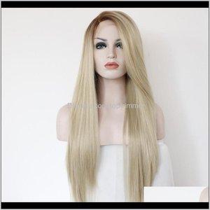Products Drop Доставка 2021 ZF Кружева Фронт Блондинка Человеческие Волосы Парики 26 дюймов Синтетический Высококачественный Черно-Европейский Стиль Прямой Парик ITCWO