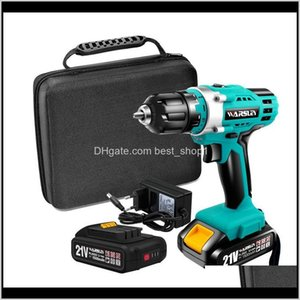 Home Garden Drop Delivery 2021 21V Multifunction Cordless Electric Rechargeable Screwdriver Lithium Battery Mini Drill 2Speed Power Tools T20