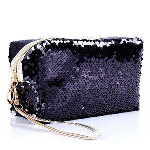 Fashion Sequin Glitter Portable Cosmetic Bag Organizer Holder Small Makeup Case Travel Storage Beauty Wash Zipper Women Girl Box