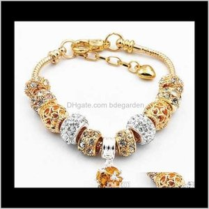 Bracelets Drop Delivery 2021 Gold Color Charm Bangle With Love And Flower Crystal Ball Women Wedding Mothers Day Bracelet Jewelry Gift Mzjpv