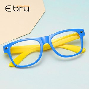 Elbru Anti-blue Light Silicone Glasses Brand Children Soft Frame Goggle Plain Glasses Kids Eye Fame Eywear Fashion glasses
