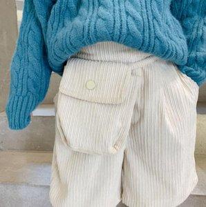 Shorts 2021 Arrival Girls Boys Corduroy With Bag Winter Fashion Cotton Kids 1-7 Years QA430