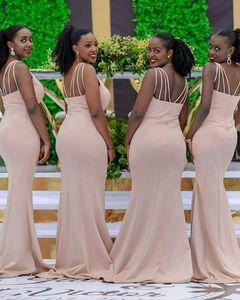 2021 Nude Pearl Pink Sexy V Neck Sleeveless Side Split Bridesmaid Dresses Keyhole Elastic Satin Zipper Back Sweep Train Mermaid Wedding Guest Dress