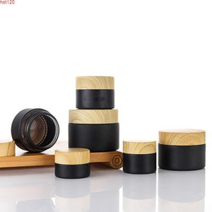 50g 30g 15g 10g 5g Empty Refillable Frost Black Glass Cream Jar pot Containers With Wood Imitation Lids 1oz Cosmetic Jargood